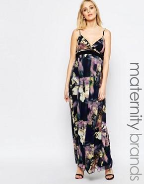 Little Mistress Maternity Bold Floral Print Cami Maxi Dress