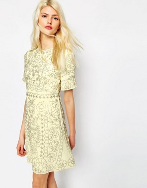 Needle & Thread Linear Motif Embellished Shift Dress