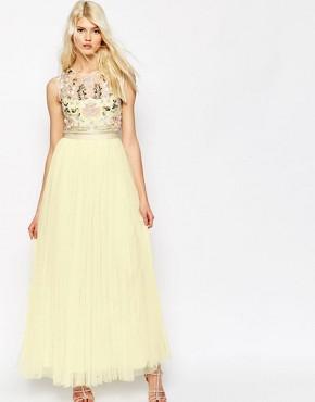 Needle & Thread Foliage Cluster Tulle Maxi Dress
