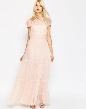 Needle & Thread Chiffon Lace Gown Maxi Dress