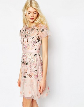 Needle & Thread Floral Tiered Embellished Dress