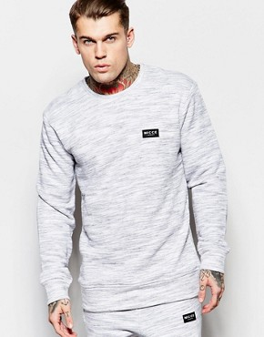Nicce London Crew Neck Sweatshirt in Grey Space Dye