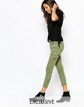 Northmore Denim Skinny Fit Cargo Pants With Ankle Zips & Side Pockets