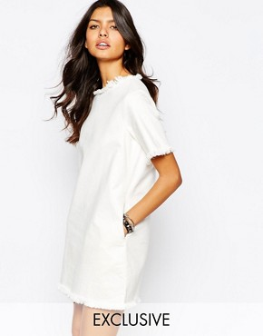 Northmore Denim Oversized Boxy Tee Dress With Raw Hem Detail