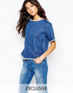 Northmore Denim Oversized T-Shirt With Raw Hem Detail