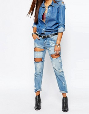 One Teaspoon Awesome Baggies Distressed Jeans in Blue