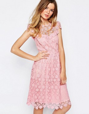 Paul and Joe Sister Floral Lace Midi Dress in Pink