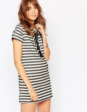 Pepe Jeans Stripe Dress With Lace Up Front