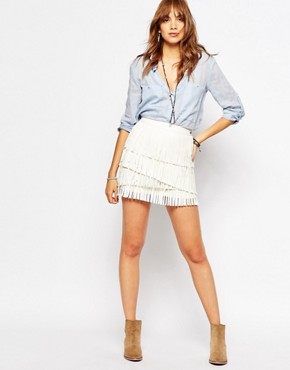 Pepe Jeans Fringe Leather Look Mini Skirt