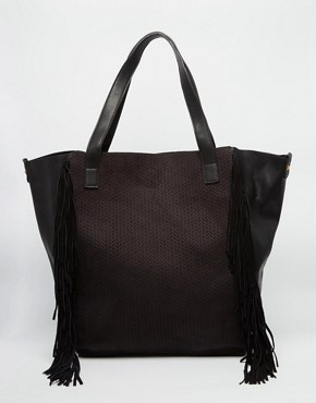 Pimkie Croc Effect Shopper With Fringing