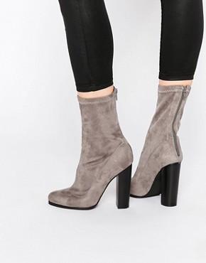 Public Desire Kat Grey Heeled Sock Boots