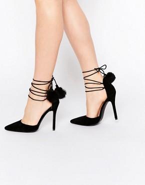 Public Desire Una Black Pointed Toe Heeled Shoes