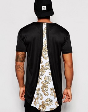 SikSilk Longline T-Shirt With Curved Hem And Split Back Print Detail