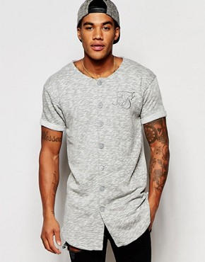 SikSilk Baseball T-Shirt With Curved Hem