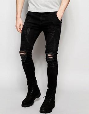 SikSilk Extreme Super Skinny Biker Jeans