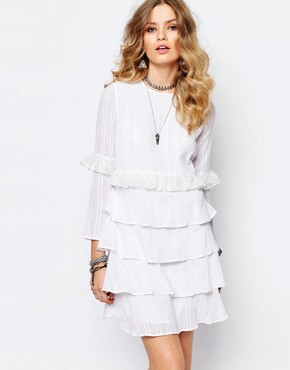 Stevie May Multi Layer Longsleeve Dress in White