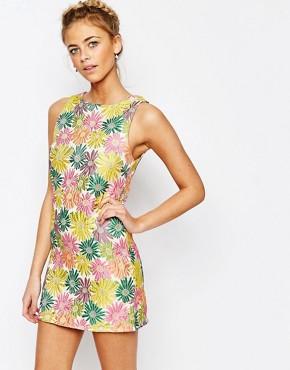 True Decadence Floral Jacquard Mini Shift Dress