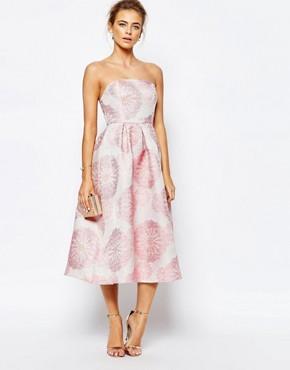 True Decadence Bandeau Full Prom Midi Dress In Floral Jacquard