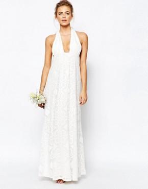 True Decadence Cutwork Lace Halterneck Full Prom Maxi Dress