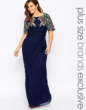 Virgos Lounge Plus Ariann Embellished Maxi Dress With Frill Wrap Skirt