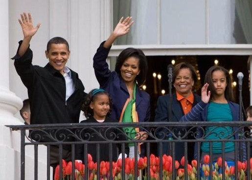 Marian Robinson (second from right) makes an appearance with the rest of the immediate family of Barack Obama on the South Portico of the White House during festivities of the 2009 White House Easter Egg Roll