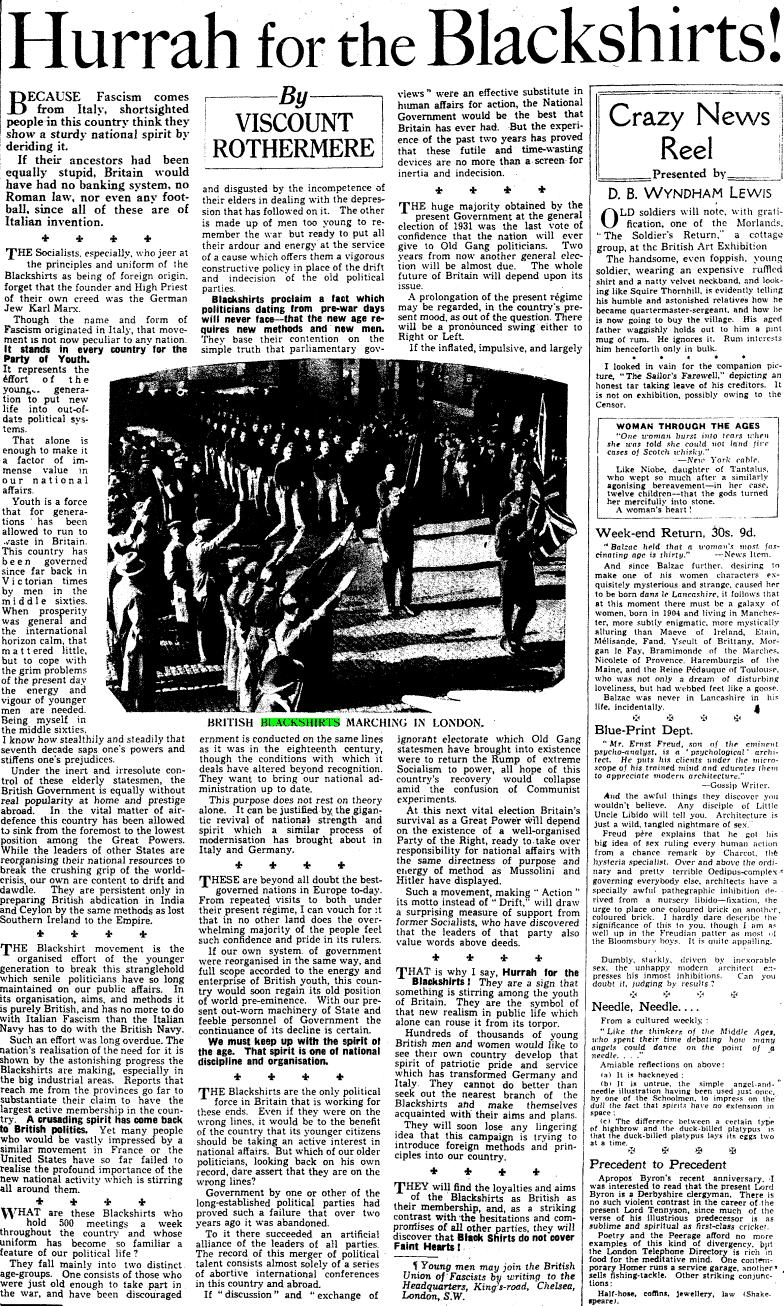 "The ""Hurrah for the Blackshirts"" article by Lord Rothermere"