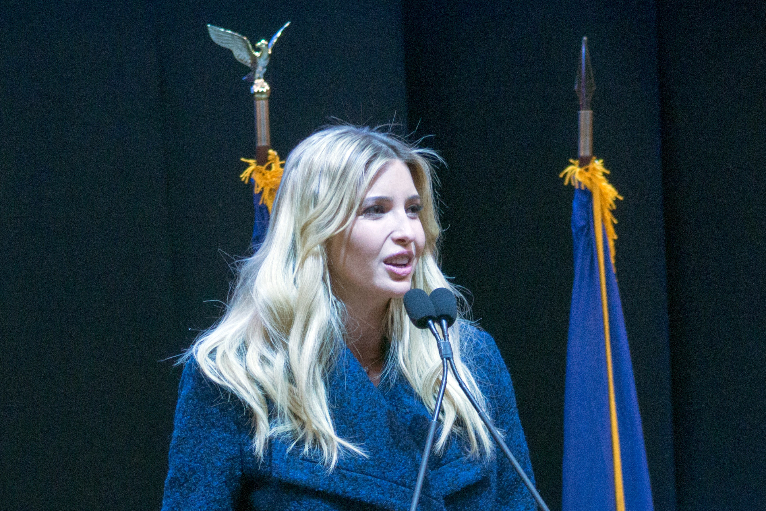 Ivanka Trump at a rally for her father at Verizon Wireless Arena in Manchester, New Hampshire, February 8, 2016