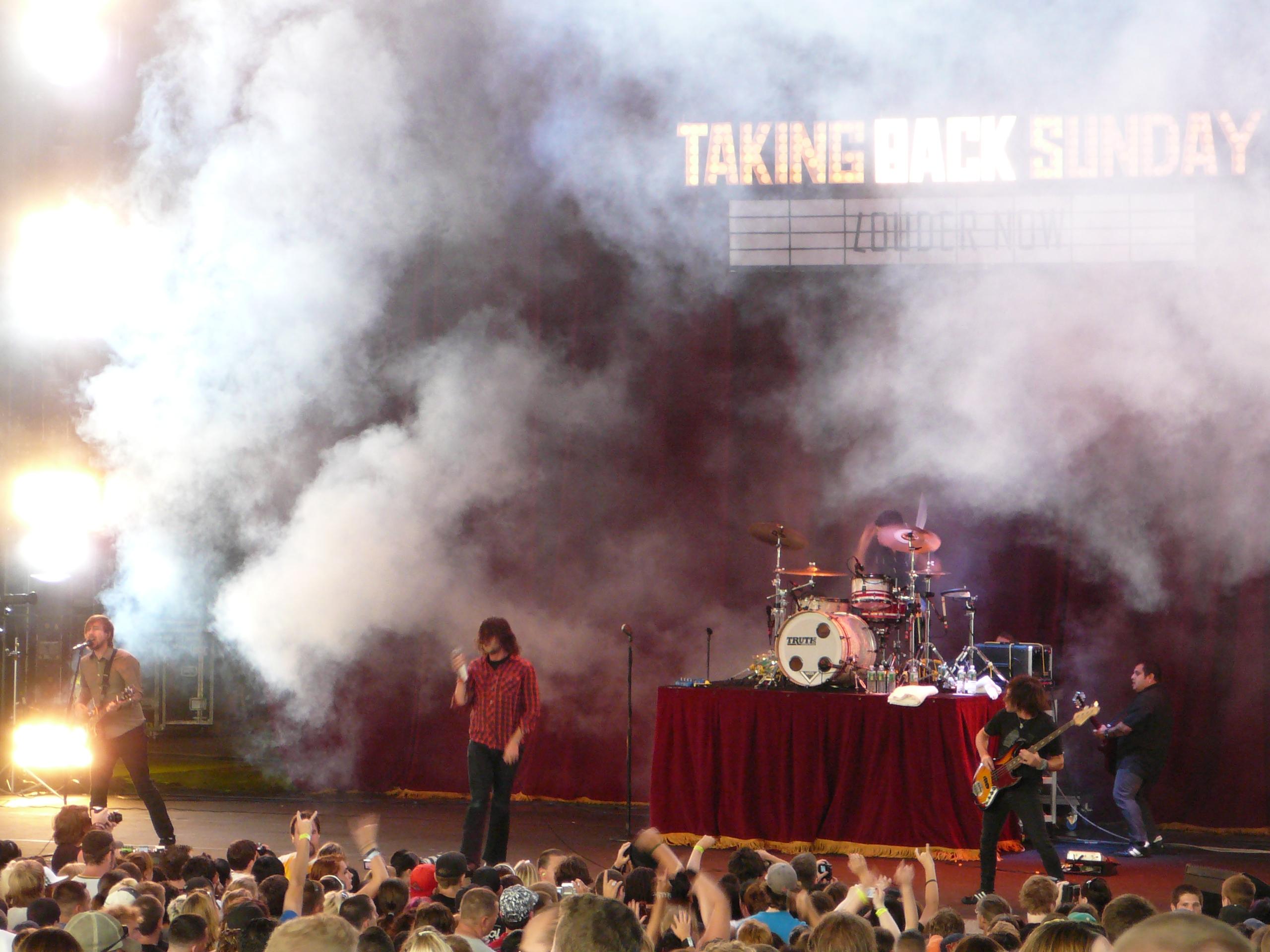 Taking Back Sunday performing on the Projekt Revolution tour in Mansfield, Massachusetts on August 24, 2007