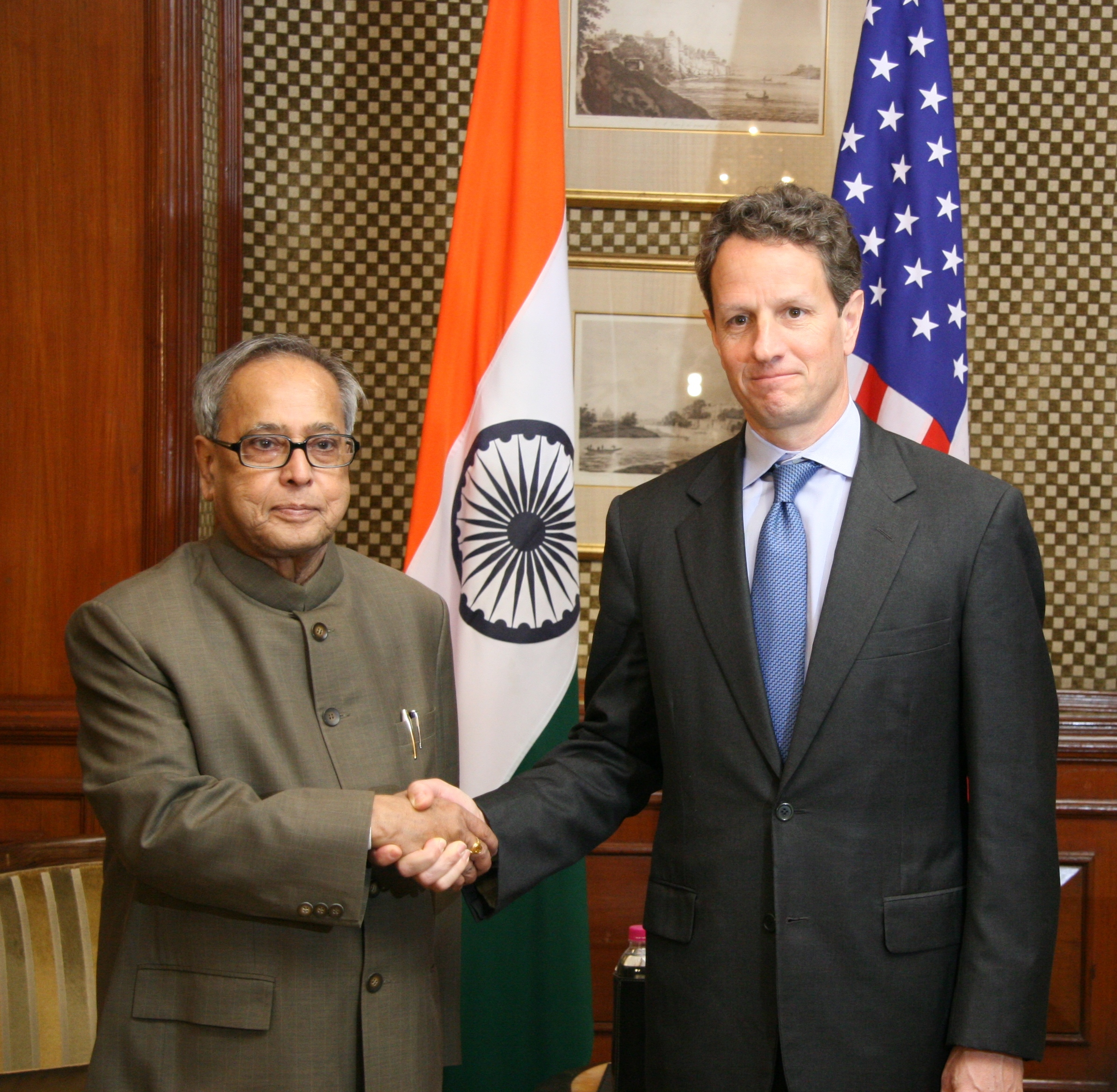 Finance Minister (later President) of India Pranab Mukherjee with Secretary of the Treasury Tim Geithner at Washington, D.C. in 2010.