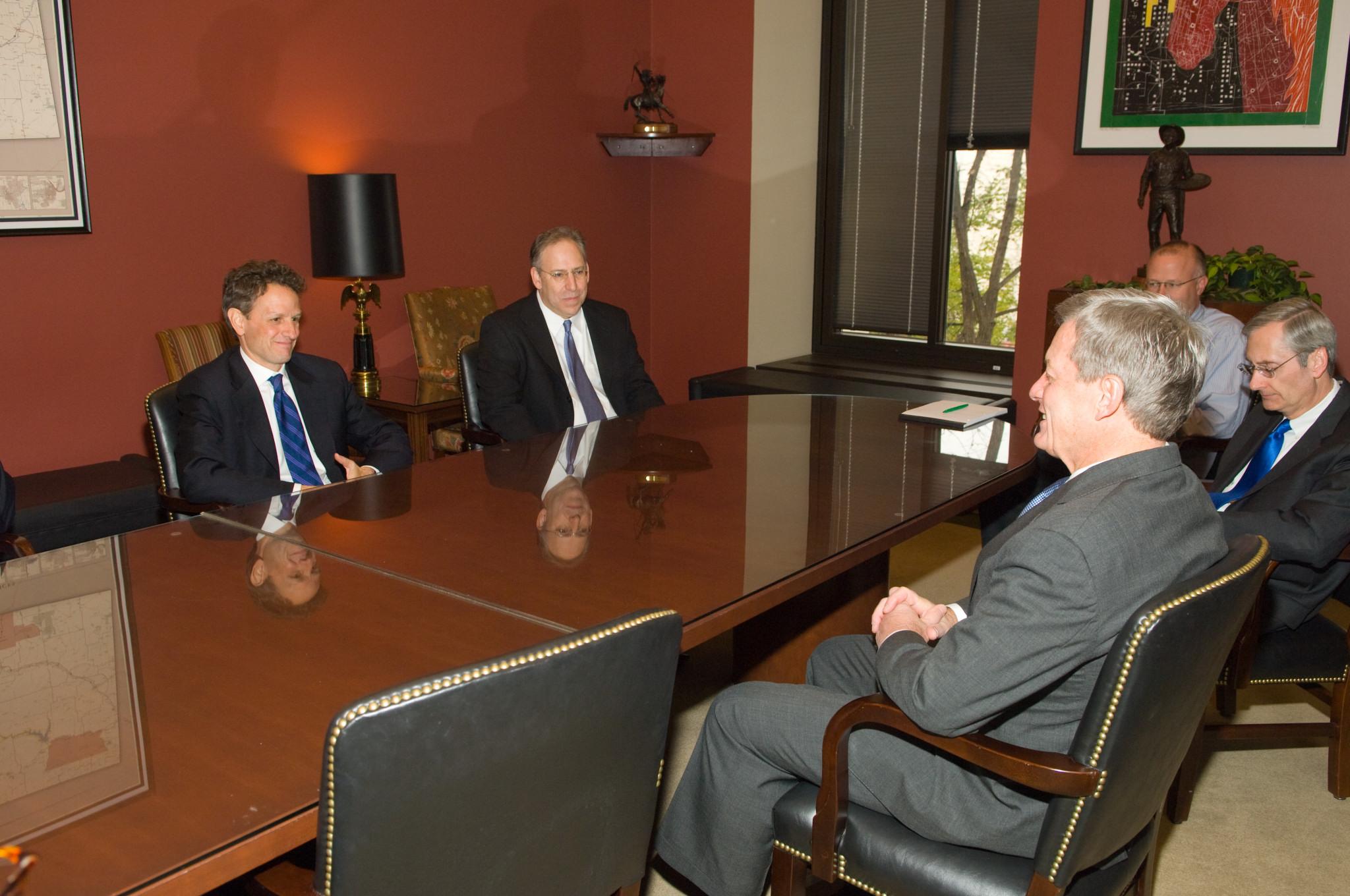 Treasury Secretary designee Geithner meets then-Finance Committee Chairman Max Baucus on November 25, 2008