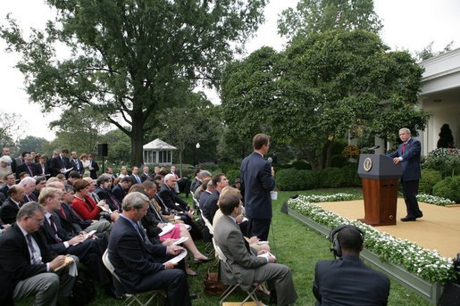 Addressing former president Bush as ABC News White House correspondent