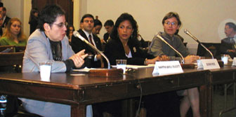 Susan E. Rice (middle) at the USCIRF hearings (November 27, 2001)