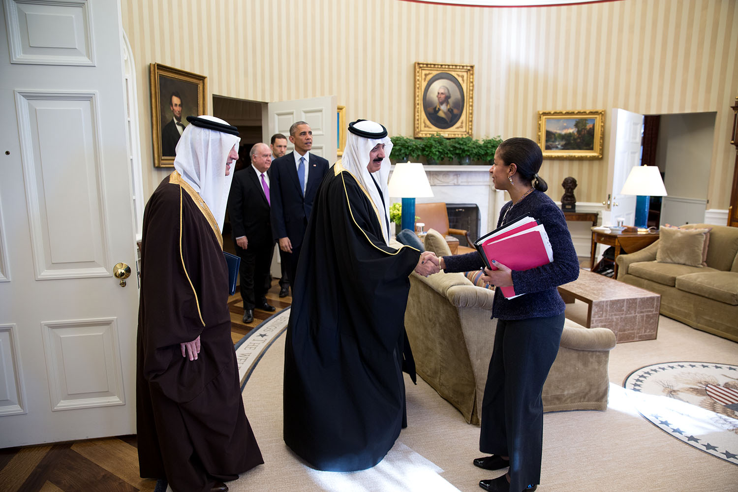Rice and President Obama meet with Saudi Arabia's Minister of the National Guard, Prince Mutaib bin Abdullah, 19 November 2014