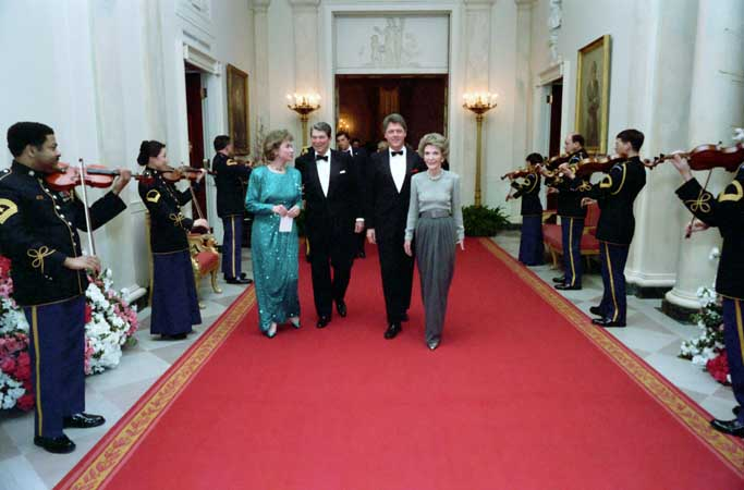 Governor Bill Clinton and First Lady Hillary Clinton attend the 1987 Dinner Honoring the Nation's Governors with President Ronald Reagan and First Lady Nancy Reagan.