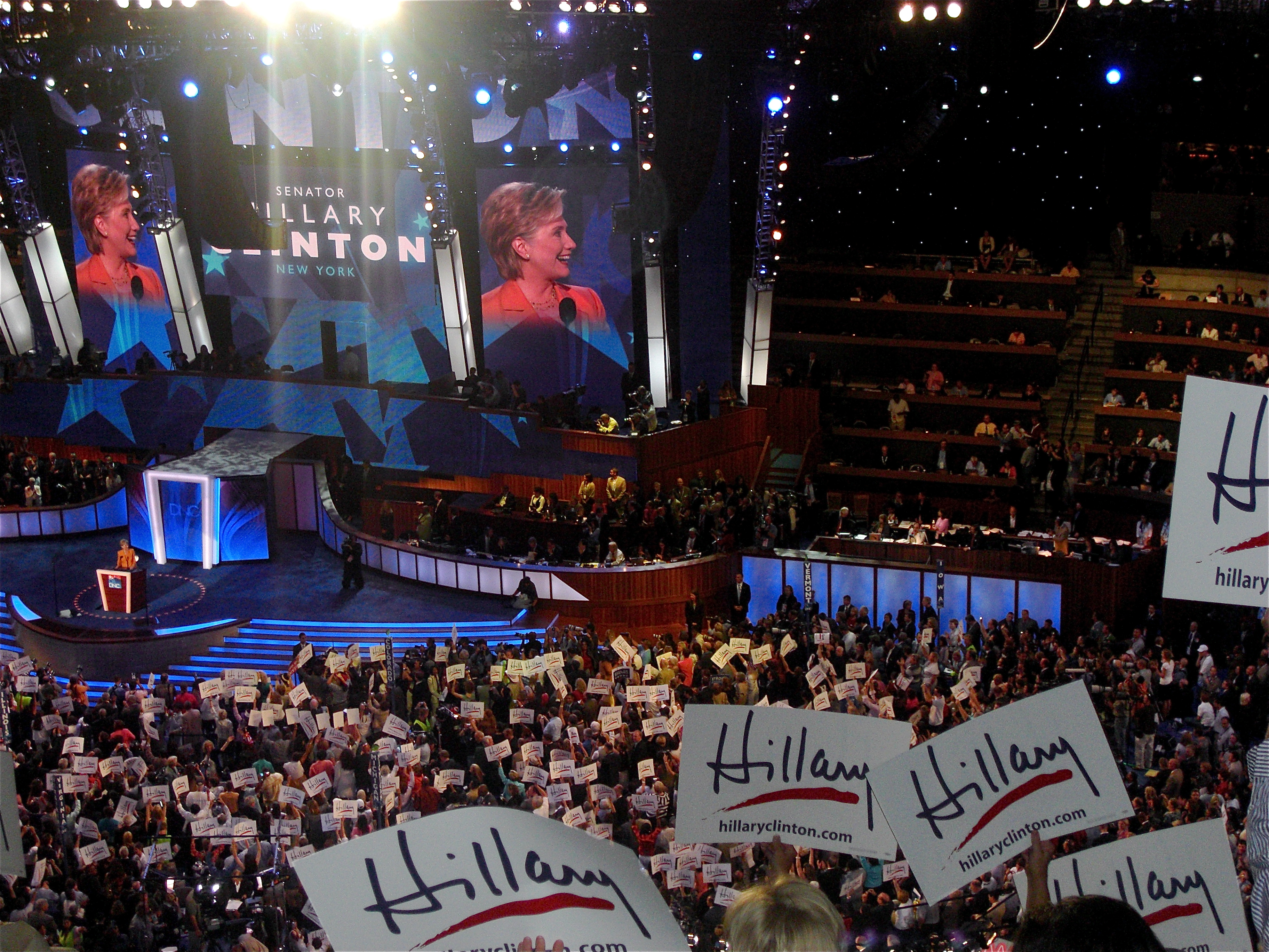 Clinton speaks on behalf of her former rival, Barack Obama, during the second night of the 2008 Democratic National Convention in Denver.