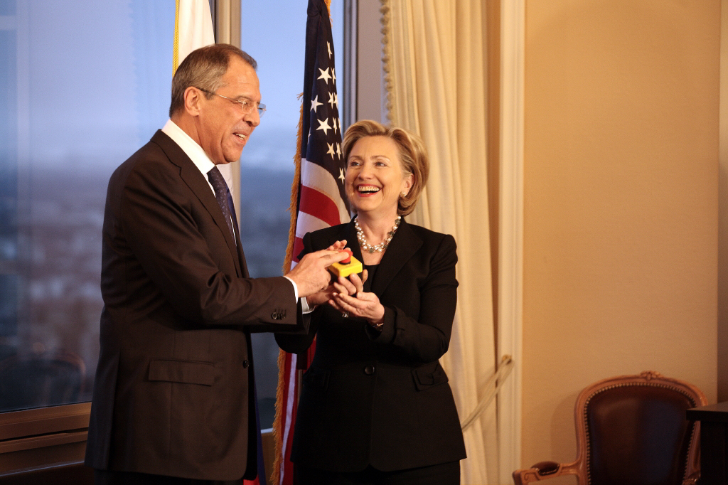 """Clinton with Russian Foreign Minister Sergey Lavrov and the """"reset button"""", March 2009"""