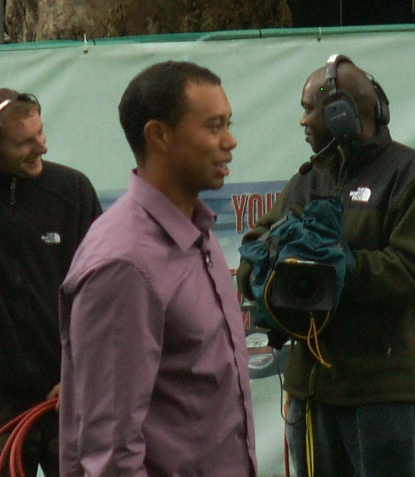 Woods preparing for a photo shoot in 2006