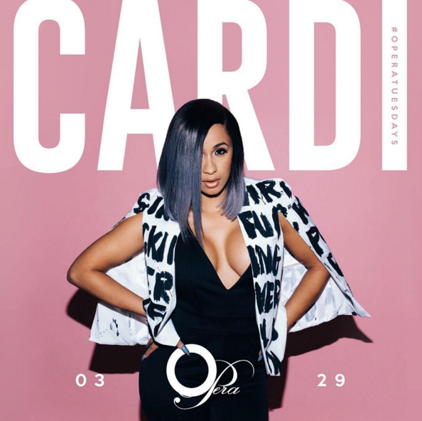 Cardi B promoting an event.