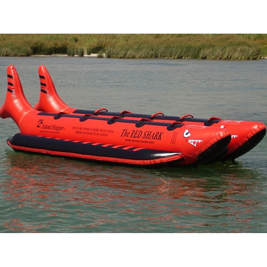 Island Hopper The Red Shark Banana Boat 10 Passenger Side-By-Side Towable Tube 2016