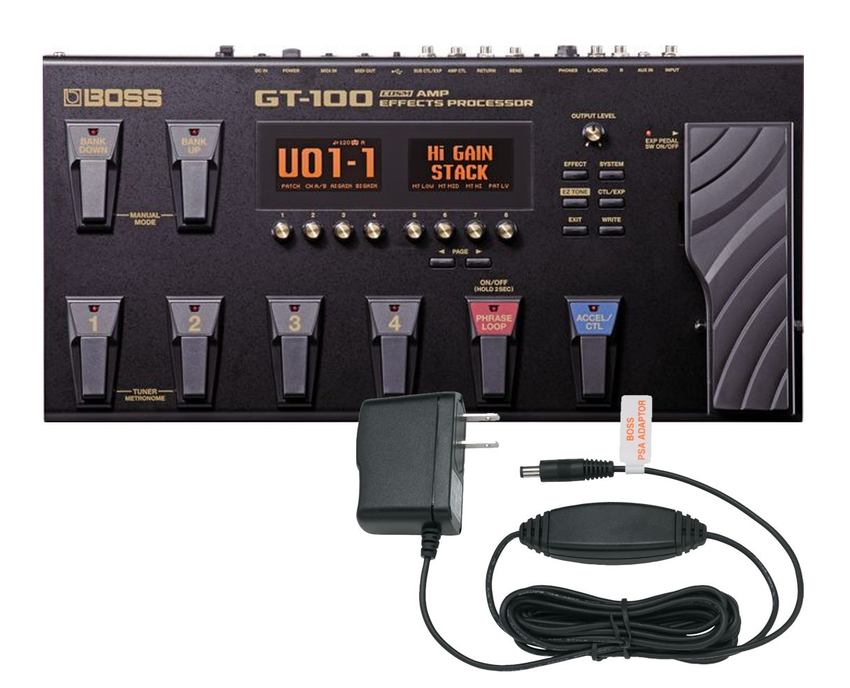 Boss GT-100 Amp Effects Processor and PSA-120S Power Supply