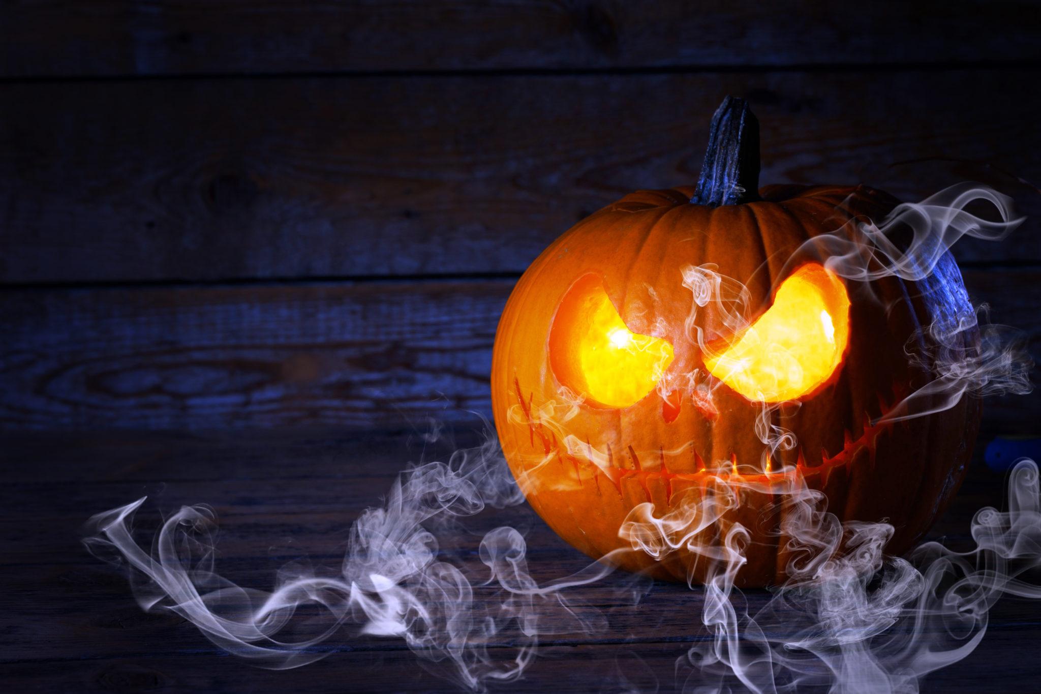 Scary Jack o Lantern at dark night