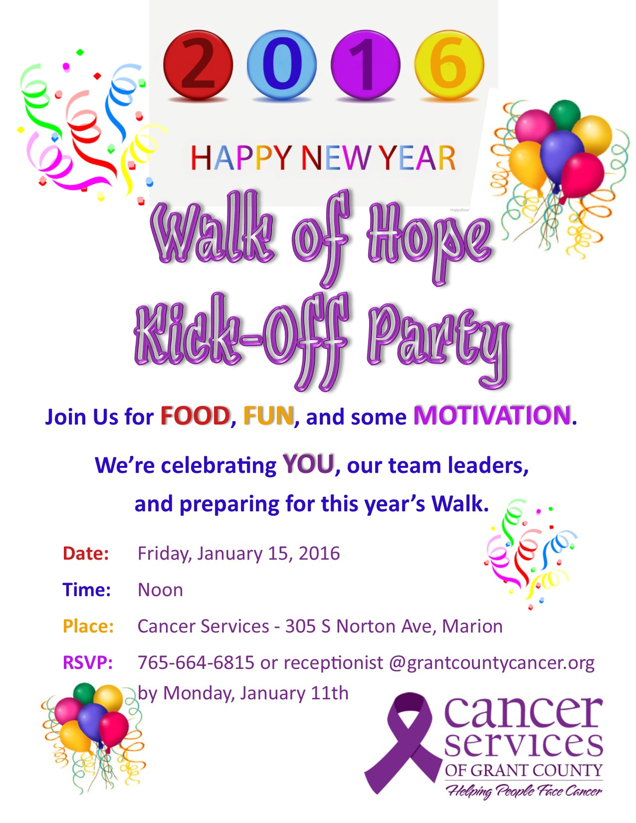 Cancer Services of Grant County | Walk of Hope Kick-off