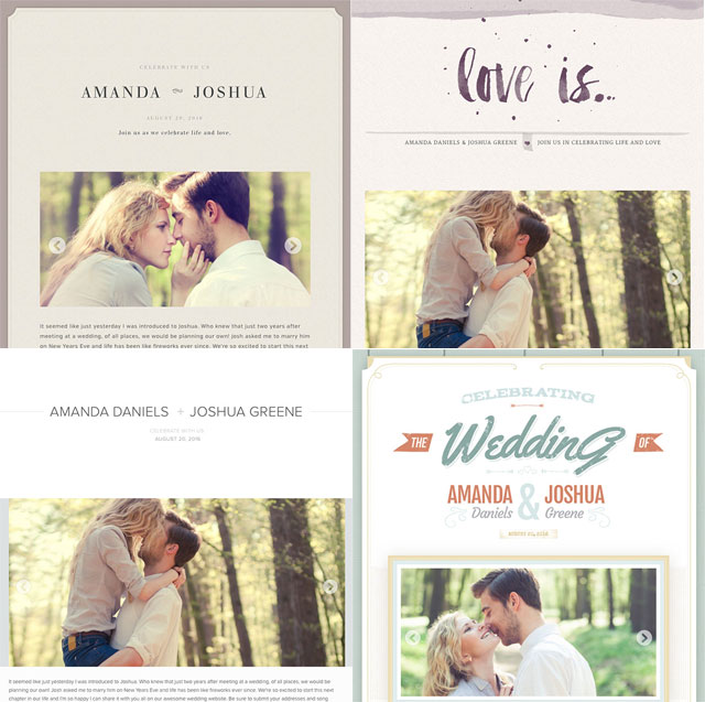 wedding webpage themes