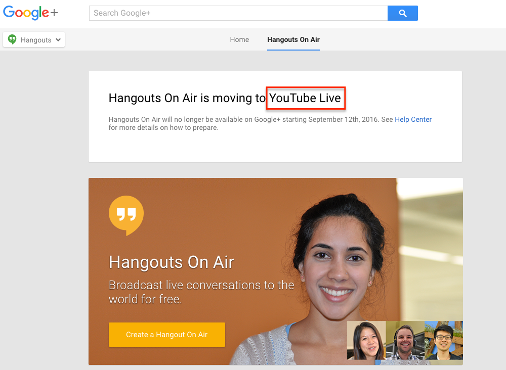 Google Hangouts YouTube Live