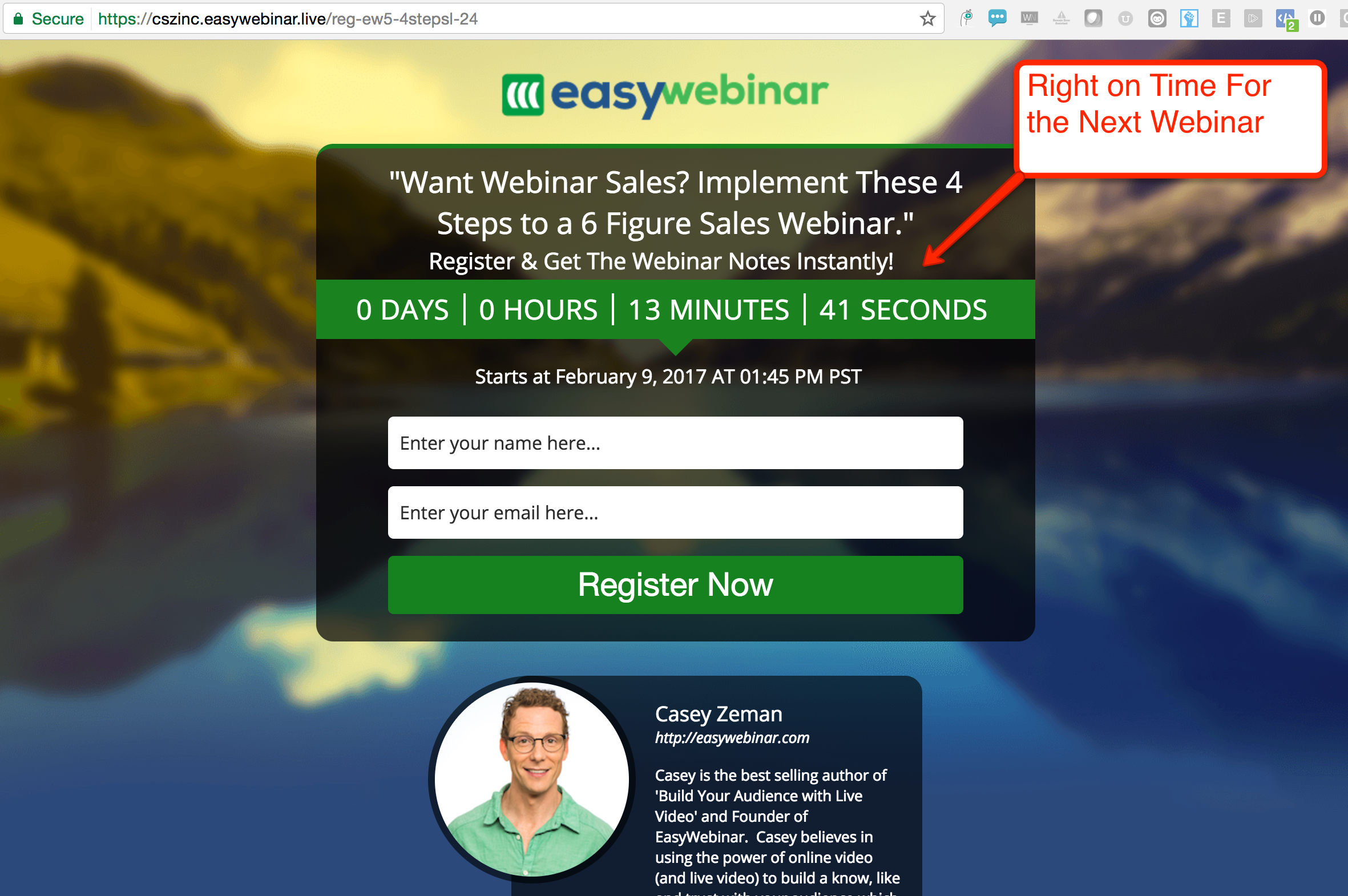 EasyWebinar Right on Time Feature