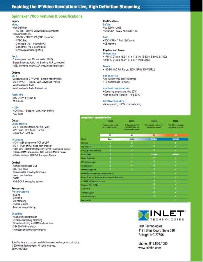 Inlet Spinnaker HD Live Stream Encoder Server