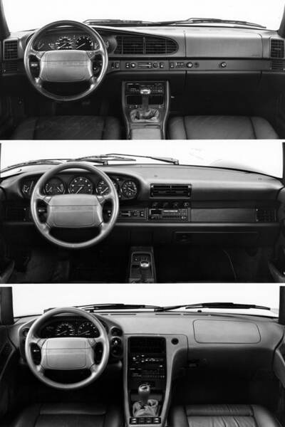 By 1990, Porsche made dual airbags standard equipment in all models. Top to bottom: 944, 964-based 911, and 928.
