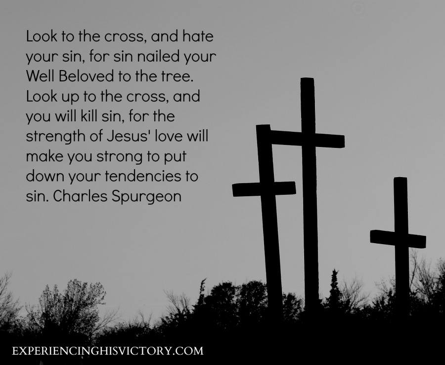 Look to the cross, and hate your sin, for sin nailed your Well Beloved to the tree. Look up to the cross, and you will kill sin, for the strength of Jesus' love will make you strong to put down your tendencies to sin. Charles Spurgeon