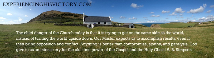 The chief danger of the Church today is that it is trying to get on the same side as the world, instead of turning the world upside down. Our Master expects us to accomplish results, even if they bring opposition and conflict. Anything is better than compromise, apathy, and paralysis. God give to us an intense cry for the old-time power of the Gospel and the Holy Ghost! A. B. Simpson