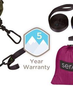 serac classic camping hammock tree straps, stuff sack, carabiners
